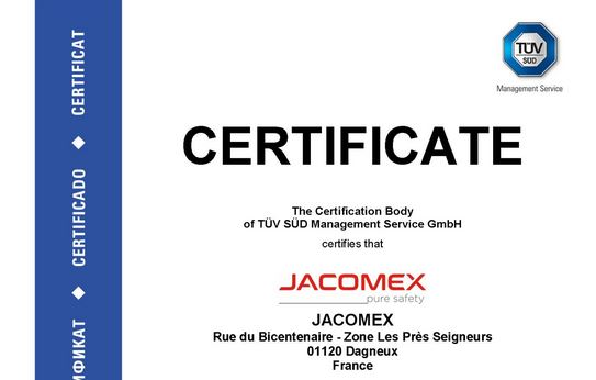 ISO 9001 Certificate – A Long-Standing Quality Commitment at JACOMEX